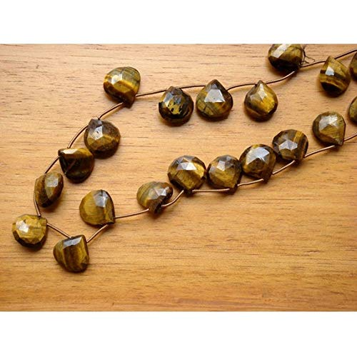 GemAbyss Beads Gemstone 1 Strand Natural Tigers Eye Briolette - 13-15mm Faceted Heart Shaped Code-MVG-18776