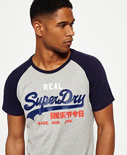 Superdry Mens Vintage Logo Raglan T-Shirt Rinsenvy Sleeve L