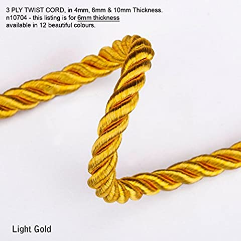 Neotrim 6mm Barley Twist Rope Cord Trimming, Braided, For Piping or Edging, Home Décor. High Sheen Viscose, Prominent 3 Ply Twist Look, with 12 Stunning Colours to Choose From - Light Gold - 4 - Rayon Twist Cord