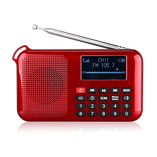 (Retekess Portable L-388 Solar Radio Flashlight with FM Mp3 player Speaker Sleep Timer Phone Charger Sleep Timer Rechargeable Battery(Red))