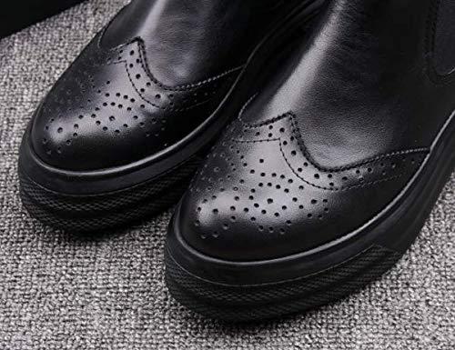 Mujer KOKQSX el Cuero el Magdalenas otoño de 39 Invierno black Botas y Fondo Botas Martin Cortas de 39 Negro de Zapatos Grueso BrzxqB