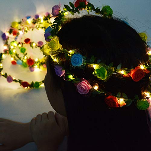 (Homeleo 4-Pack LED Rose Flower Wreath Headband Light Up, LED Glowing Girl's Headdress, LED Fairy LED Wrap Crown Festival Tiara Floral Bohemia for Festival Wedding Christmas New Year Halloween)