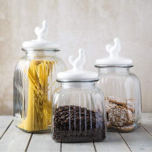 HC Glass Canister Quality Set of 3 Clear Jar Ceramic Lids Airtight Lock Kitchen - Food Storage Containers