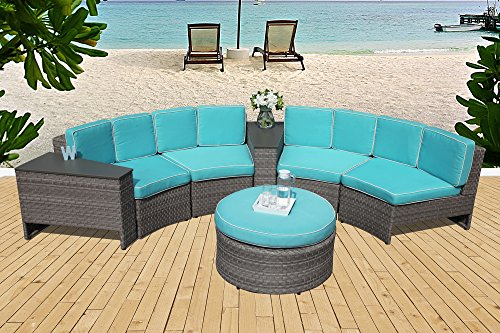 PATIOROMA Outdoor Furniture Set,7-Piece Sectional Sofa Set All-Weather Grey Wicker with Blue Seat Cushions &Storage Table &Ottoman| Patio, Backyard, Pool|Aluminum Frame