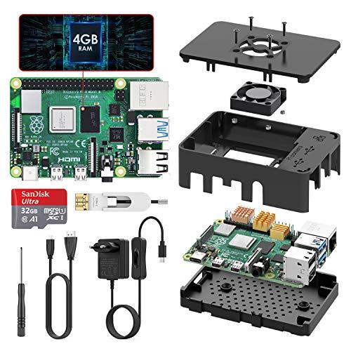 TICTID Raspberry Pi 4 Modelo B 4GB Kit, Versión Actualizada de Raspberry pi 3 con Tarjeta MicroSD de 32GB, Adaptador…