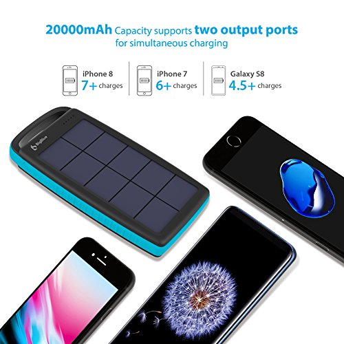 BigBlue Solar Battery Charger 20000mAh IPX4 Waterproof Dual USB Ports Emergency Solar Powered Charger with 6 LED Light Fast Charging for Cellphone Tablet and More Devices