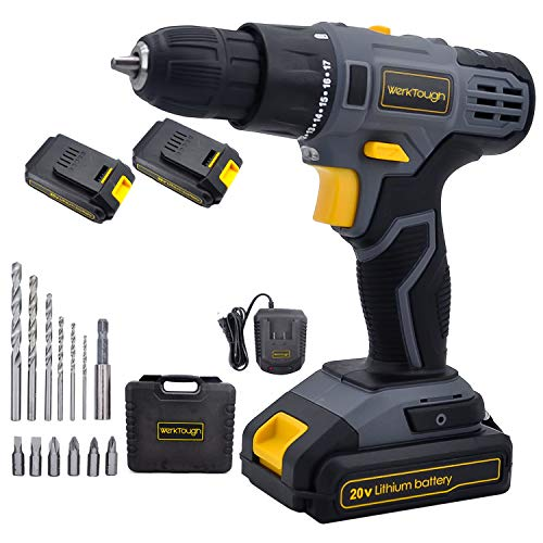 Werktough D023 20V Cordless Drill Driver Powerful Screwdriver 2×2.0Ah Li-ion Battery Platform With Fast Charger