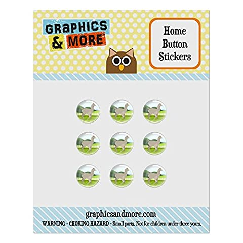Set of 9 Puffy Bubble Home Button Stickers Fit Apple iPod Touch, iPad Air Mini, iPhone 4/4s 5/5c/5s 6/6s Plus - Animals - (Ipod 5 Llama Case)