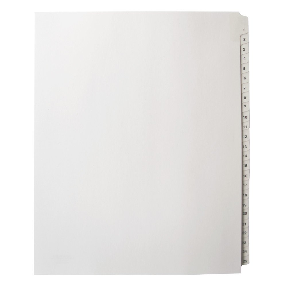 Blumberg Numerical, Letter Size, Side Tabbed, Unpunched, Binder Index Dividers, Collated in Sets of 25 Numbers (1-25 10 Sets)