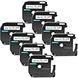 "Unismar 8 Pack Compatible M231 MK231 M-K231 Tape Black on White 12mm (1/2"") Width 8m (26.2ft) Length for Brother P-Touch PT-55 PT-65 PT-70 PT-80 PT-85 PT-90 PT-100 PT-110 (US-MK231 8PK)"