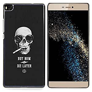 - Smoke Cigarette Cool Buy Skull Black - - Snap-On Rugged Hard Cover Case Funny HouseFOR HUAWEI P8