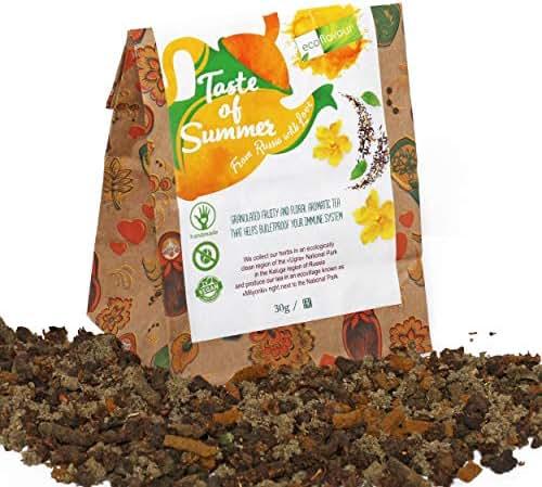 Ecoflavour Taste of Summer Granular Tea, Handmade Herbal tea Blend, Premium Organic Herbs, Green tea, Detox Tea, Non GMO, Sugar Free, Caffeine Free Immune Booster, Makes a Great Natural Sleep Aid, 30g