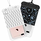 Waterproof Phone Case, iSPECLE 2 Pack Universal Waterproof Cell Phone Cases Floating Dry Bags Pouch for iPhone 8 7 6 Plus iPhone X Galaxy S8 Edge Snorkeling Swimming Surfing Up to 6 Inch Black White