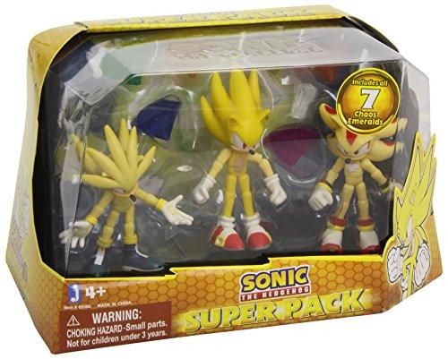 Sonic the Hedgehog Super Pack Action Figures Super Silver, Super Sonic, and Super Shadow, 3 Pack
