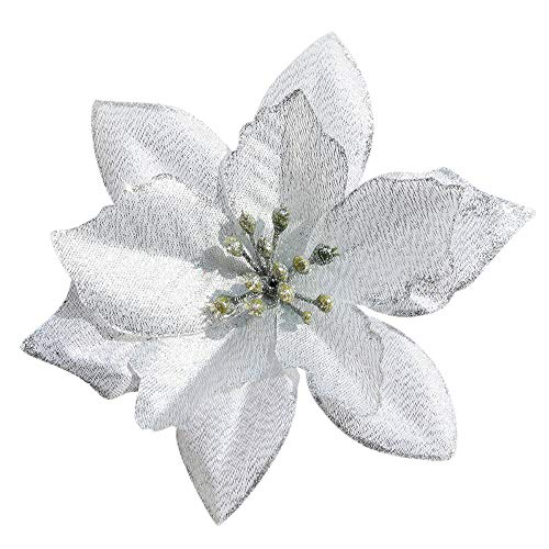 Mobuy Poinsettia Christmas Decorations Glitter Poinsettia Flowers for Christmas Tree Decorations(12Pack)(Silvery)