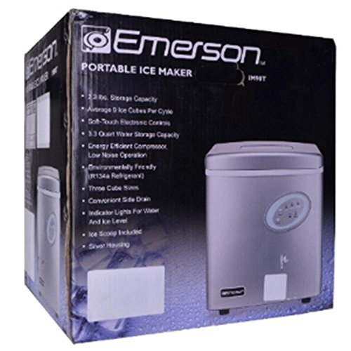 Emerson Portable 26 lbs Ice Maker Refrigerator w/Ice Scoop &...