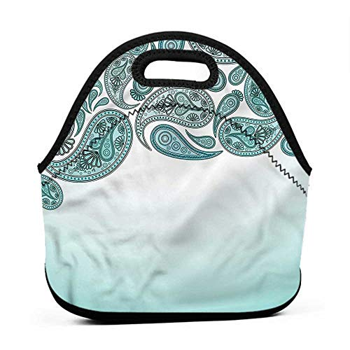 Convenient Lunch Box Tote Bag Paisley,Pastel Teardrop Pattern,school bag and lunch bag for toddler boys