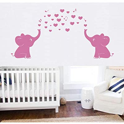 "YOYOJOY Elephant Family Wall Decal with Hearts Music Quote Art Baby Nursery Wall Decor (Pink) - 24"" X 51"": Kitchen & Dining"