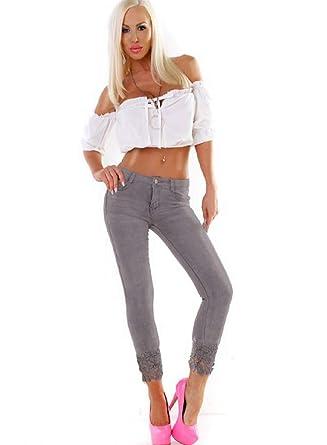 b18d782a6500b8 fashion boutik Jeans Gris 7/8 avec Dentelle au Bas Femme Sexy ...