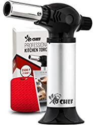 Jo Chef Professional Kitchen Torch – Aluminum Refillable Crème Brulee Blow Torch – Safety Lock & Adjustable Flame – for Cooking, Baking, BBQ – FREE Heat Resistant Place Mat + Recipe eBook