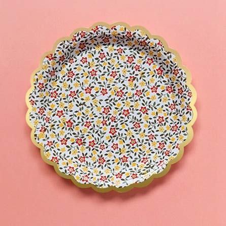 Dunnomart 10pc 7inch Retro Rural Flower Style Birthday Wedding Garden Party Supplies Cake Dish Disposable Paper Plates Baby Shower Favor -