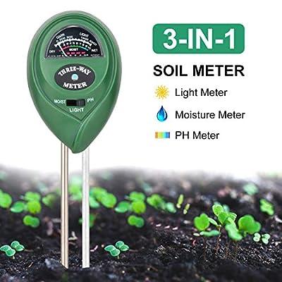 ZMKDLL Soil pH Meter 3-in-1 Soil Tester Kits Moisture/Light/pH Test Gardening Tool Kits Soil Moisture Sensor Meter for Garden, Farm, Lawn, Indoor & Outdoor (No Battery Needed)