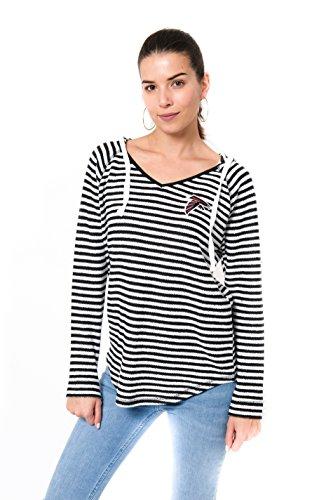 Icer Brands NFL Women's Atlanta Falcons Hoodie Pulllover Sweatshirt V-Neck Stripe, Medium, (Af Long Shirt)