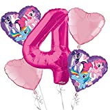 My Little Pony Balloon Bouquet 4th Birthday 5 pcs - Party Supplies Pink