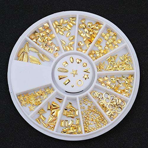 Gold Rivet Nail Studs Oval Circle Square Triangle Hollow Frame Mixed Decoration (Pattern - Star Starfish Heart Shell)