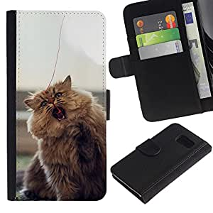 LECELL--Cuero de la tarjeta la carpeta del tirón Smartphone Slots Protección Holder For Sony Xperia Z3 Compact -- LINDO PELUDO gato mullido --