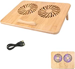 "SUMISKY Laptop Stand Cooling Pad 100% Bamboo Adjustable Laptop Desk with 2 Quiet Cooling Fans Blue Light and 2 USB Ports Ergonomic Cooler Pad for 13-16 inches Laptop (15""x11"")"