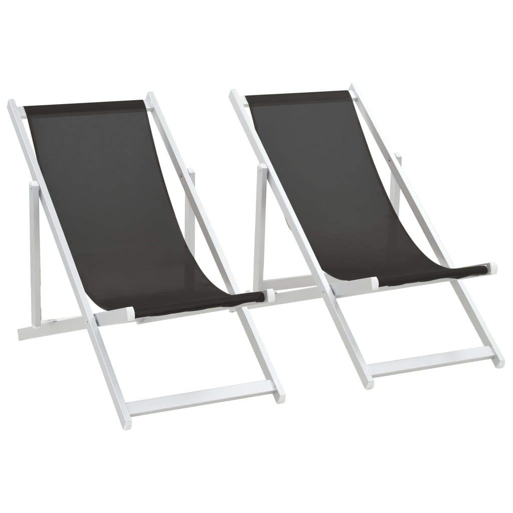 Fesjoy Sdraio da Giardino Lettino Sedie da Spiaggia Pieghevoli Sedie a Sdraio Garden Beach Sedie da Campeggio Esterne Regolabili da 2 Pezzi Lettino Telaio in Alluminio Superficie di textilene Nero