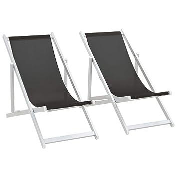 vidaXL 2X Sillas de Playa Plegables Aluminio Textilene Negro ...