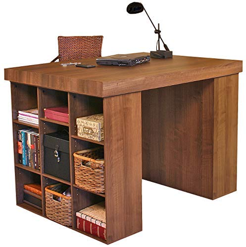 Venture Horizon Project Center Desk with 2 Bookcase Sides-Walnut -