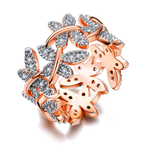 Gold Rose Cocktail Ring (NEWBARK 10 Butterflies 18k Rose Gold-Plated Cubic Zircon Women's Rings Size 7)
