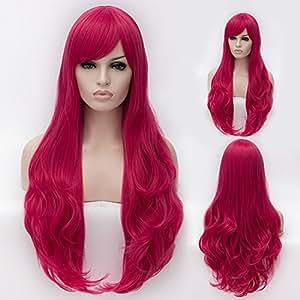 "CoastaCloud 29.5""Peluca Mujer Peluca Largo Pelo Ondulado Rizado Disfraz Cosplay Disfraces Señora Fiesta 75cm Rosa Roja"