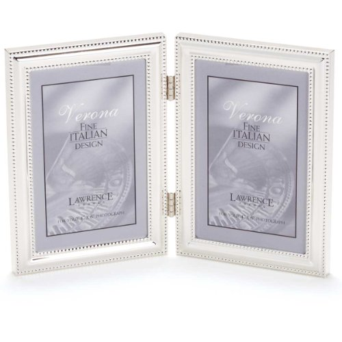 Lawrence Frames Hinged Double (Vertical) Metal Picture Frame Silver-Plate with Delicate Beading, 4 by 6-Inch
