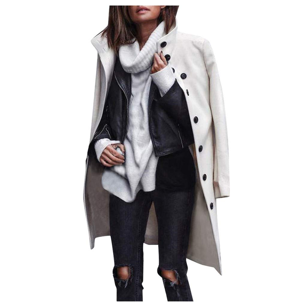Women Wool Coat,Fashion Winter Warm Jacket Solid Turn-Down Collar Full Sleeve Button Woollen Coat for Street and Office White by Sinzelimin