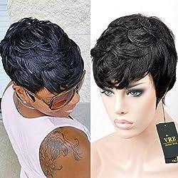 VRZ Short Human Hair Wigs Natural Black Wavy Wigs for Women (TR8815A)