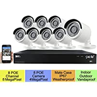 CIB 16CH NVR 8MP/5MP/4MP (3840x2160 to 2592x1520) Magepixel Super HD H.265 8CH POE Network Video Recorder System, 8x4MP (2592x1520) HD H.265 POE Weatherproof VandalProof Bullet IP Cameras w/ 4TB HDD
