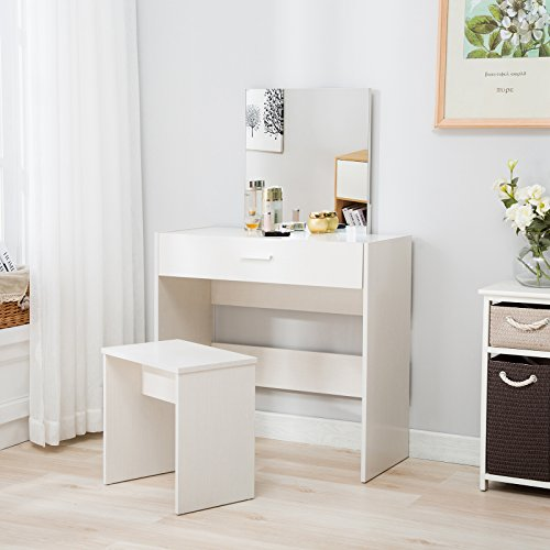 Mecor Vanity Makeup Table Set Dressing Table with Stool and Square Mirror,White - Free Time Dresser Mirror