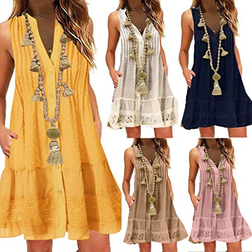 SFE❤️ rabatte bis zu 61%❤️ Fashion Women Summer V-Neck Sleeveless Dress with Button Solid Color Elegant Yellow]()