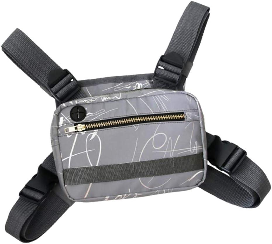 Perfeclan Hommes Sac de Poitrine Gilet Pack Poitrine Rig Pack Poche pour Radio Bidirectionnelle Bum Sac pour Course /à Pied Marche Camping Trekking