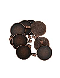Dovewill 10 Pieces Round Bezel Pendant Trays Cabochon 25 mm Blanks Bezel Cabochon Settings for Necklace Pendant DIY Making