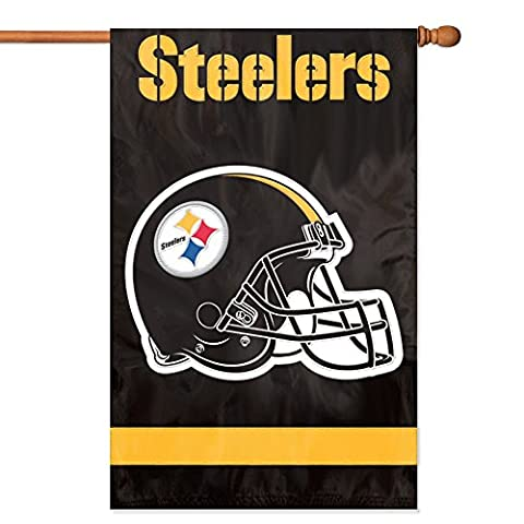 Party Animal Pittsburgh Steelers Banner NFL Flag, Black - Double Sided Pole
