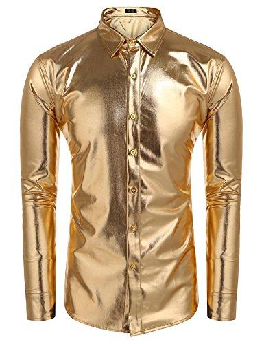 JINIDU Mens Metallic Shiny Nightclub Slim Fit Long Sleeve Button Down Shirt for Disco Party