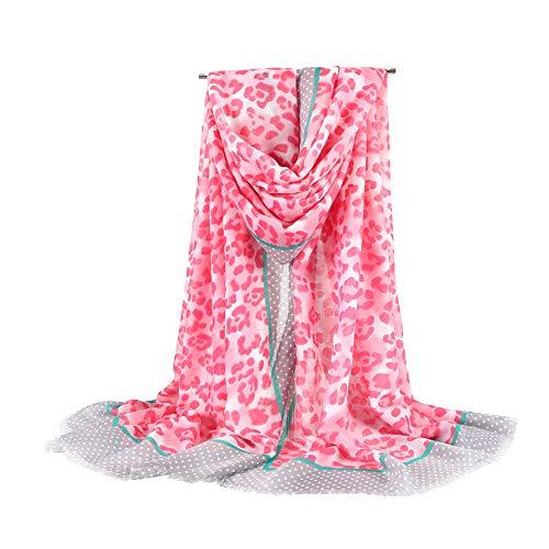 "Autumn Leopard Shawl Scarf Lightweight Cotton Wraps Animal Pattern 71"" for Women"