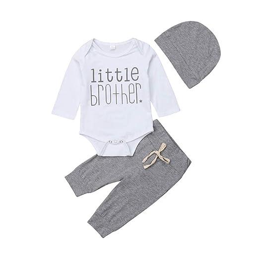d0a222e57e71 Amazon.com  Newborn Baby Boy Little Brother Clothes Infant Long ...