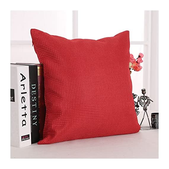 Deconovo Durable Checkered Pattern Throw Pillowcase Cushion Cover with Invisible Zipper for Sofa, 18x18 Inch, Red - SOLID FABRIC: Deconovo cushion covers are crafted with 100 percent high quality polyester fabric. Our cushion cases are solidly woven, produced with premium grade material. The fabric is heavy and strong enough to resist to wear. WAFFLE PATTERN: This throw pillow case is woven on the surface and interior with a waffle design that gives a luxury and elegant look to the cushion. This waffle pattern revamps and refines the room's decoration, giving it a fashionable and opulent decor appearance. HIDDEN ZIPPER: The throw cushion case offers an easy to use invisible zipper closure on one side. The zipper color improves the cushion cover appearance and eases the insertion and removal. Decorative faux linen cushion cover is perfect for sofa, couch, chair, bed, school, travel and naps. - living-room-soft-furnishings, living-room, decorative-pillows - 51QLeAsoWRL. SS570  -