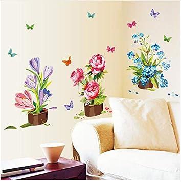Hajksds Topfblumen Pflanzen Dekoration Wandaufkleber Fur Wohnzimmer